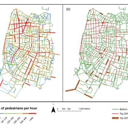 Visualization of the pedestrian movement prediction model for the future state of the city