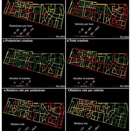 The spatial patterns of traffic volumes, crashes, and relative crash risks