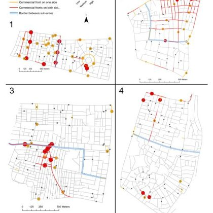 Observed pedestrian movement volume and commercial land use distribution