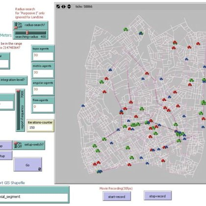 Main interface of the agent-based vehicles model